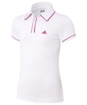 Adidas Golf Junior ClimaLite Piped Polo - White / Bahia Magenta – Bild 1