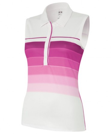 Super Sonderangebot - Adidas Junior Girls ClimaLite Bold 3-Stripes Sleeveless Golf Polo White/Bahia Magenta – Bild 1
