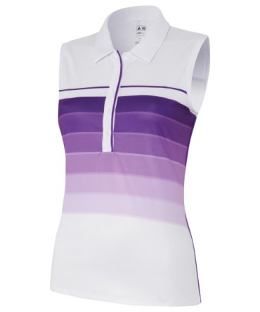Super Sonderangebot - Adidas Junior Girls ClimaLite Bold 3-Stripes Sleeveless Golf Polo -  White/Vivid Purple – Bild 1